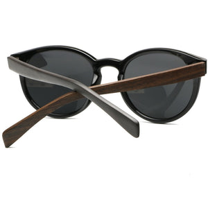 rear view of the WoodYou Vintage black sunglasses with dark wood Arms