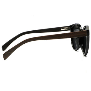 Side view of the WoodYou Vintage black sunglasses with dark wood Arms