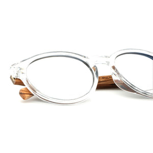 Vintage silver frames with natural wooden arms and grey lens