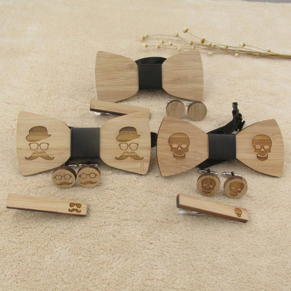 Handmade Wooden Bow Tie ,Cufflinks and Tie Clip