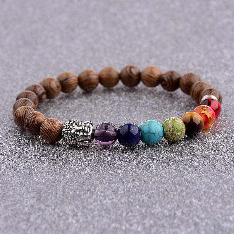 Wooden Bead Bracelet with 7 Chakra Colors Natural Stone Beads
