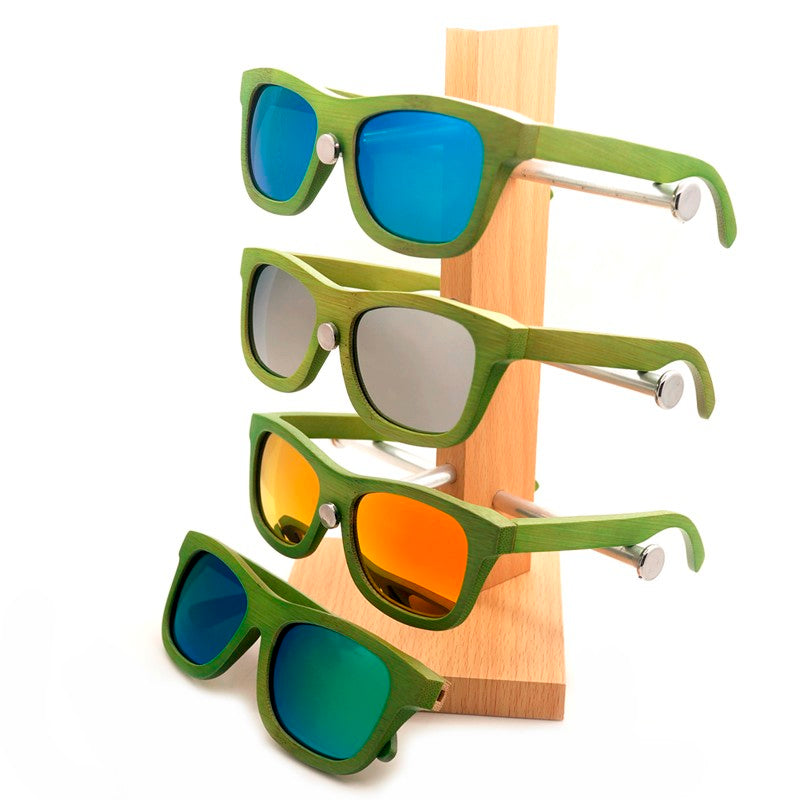 Handmade Green Bamboo frame with Mirror lens sunglasses on a stand