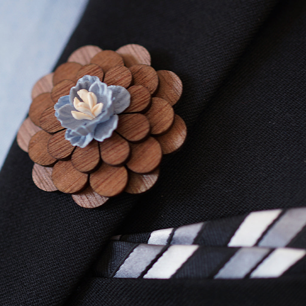 Wooden Floral lapel with Material Bud