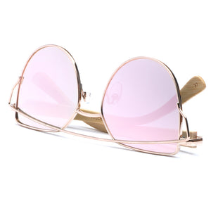 Oversize Metal Butterfly Frame With Bamboo Arms and pink mirror lens