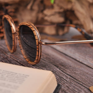 handmade wooden frame sunglasses with Steel frame
