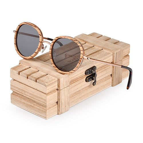 handmade wooden frame sunglasses with Steel frame with wooden crate protective box