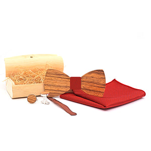 Handmade Wooden Bow Tie Set with matching cuff links and pocket square in Red