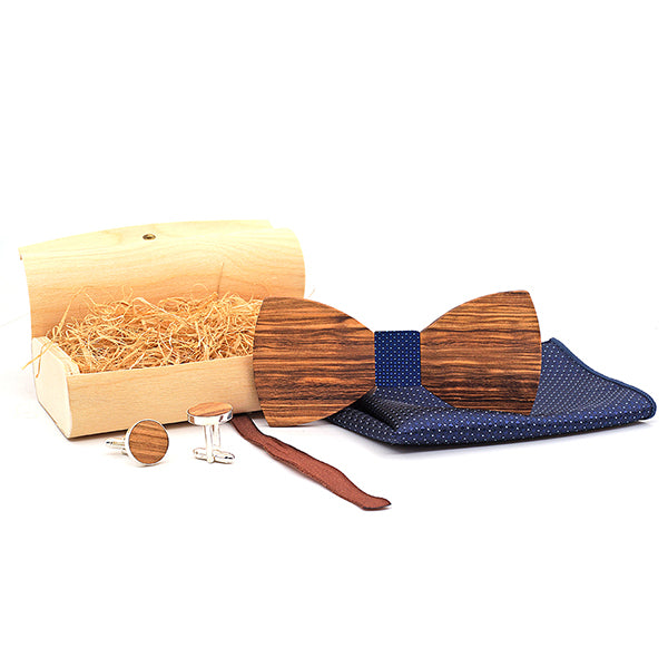 Handmade Wooden Bow Tie Set with matching cuff links and pocket square in Blue