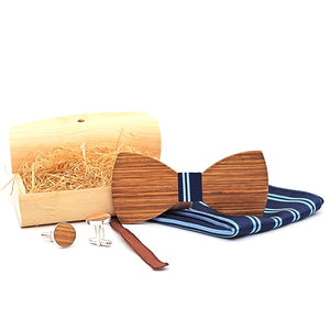 Handmade Wooden Bow Tie Set with matching cuff links and pocket square in Blue Stripe