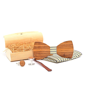 Handmade Wooden Bow Tie Set with matching cuff links and pocket square in Green