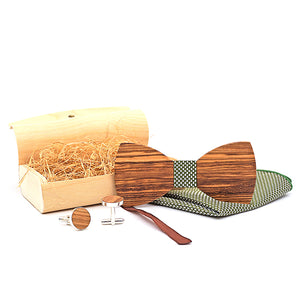 Handmade Wooden Bow Tie Set with matching cuff links and pocket square in dark Green