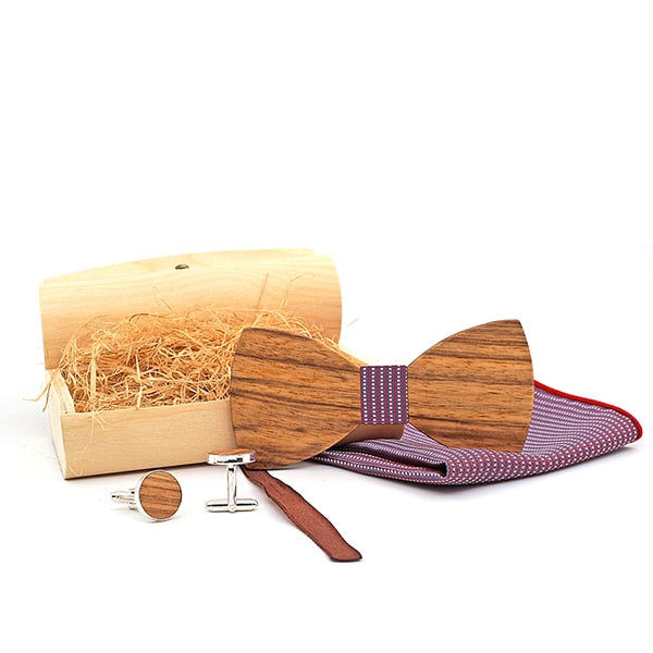 Handmade Wooden Bow Tie Set with matching cuff links and pocket square in purple