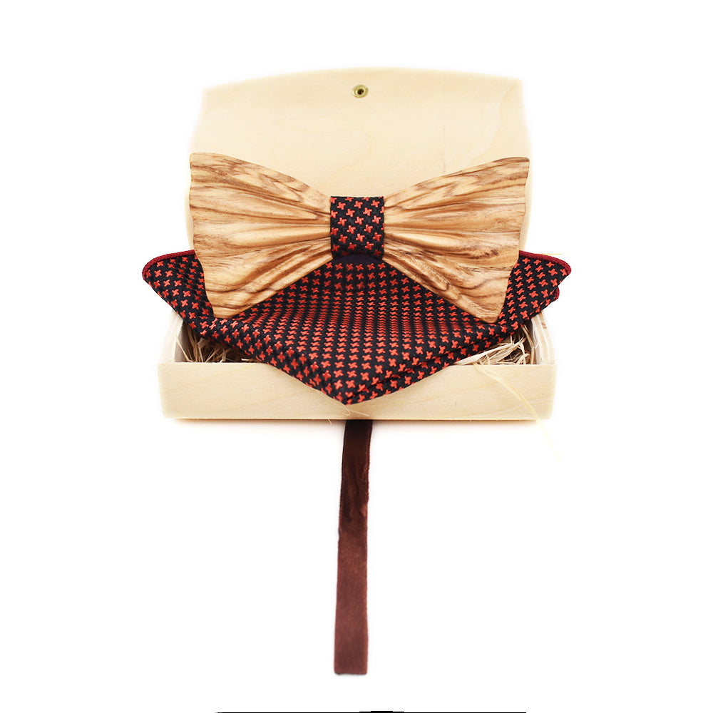 Pocket Square and Bow Tie Set in Wooden Box