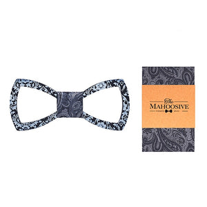 Floral Design Cutout Bow Tie Handkerchief Set in Navy Blue with white dots with sample packaging and branding