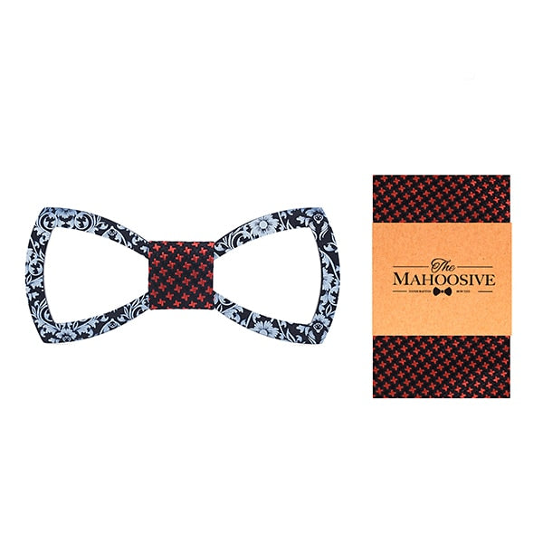 Floral Design Cutout Bow Tie Handkerchief Set in Maroon with white dots with sample packaging and branding