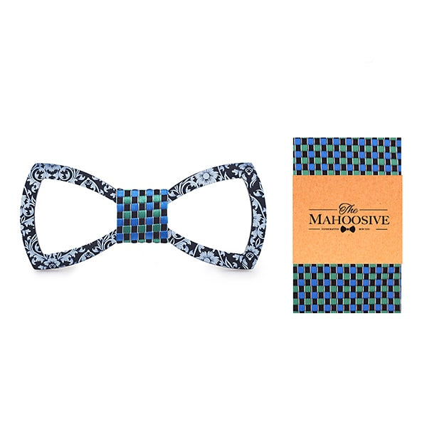 Floral Design Cutout Bow Tie Handkerchief Set in green Blue with white dots with sample packaging and branding