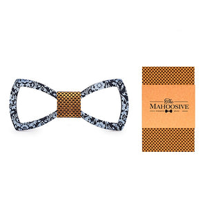 Floral Design Cutout Bow Tie Handkerchief Set in Orange with white dots with sample packaging and branding