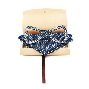 Floral Design Cutout Bow Tie Handkerchief Set in Navy Blue with white dots on the bamboo wood box it comes in