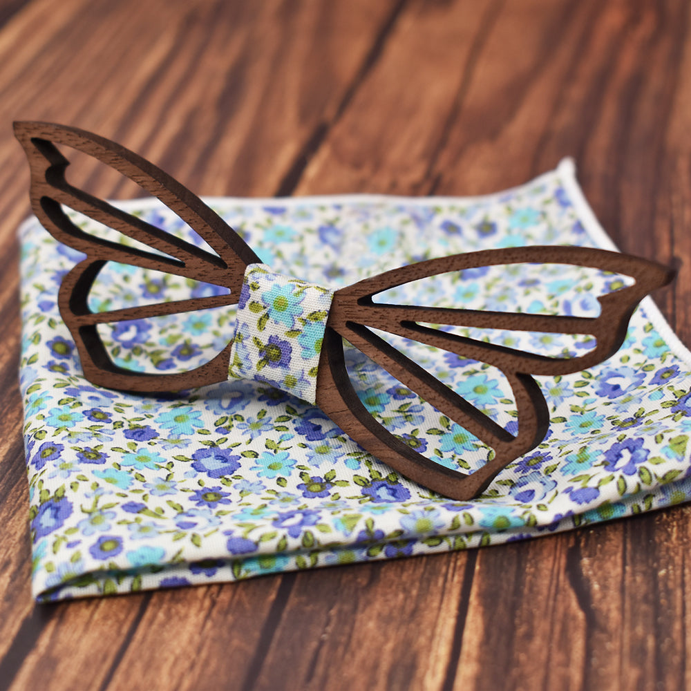 Gravata - Butterfly Cutout Bow Tie and Handkerchief Set