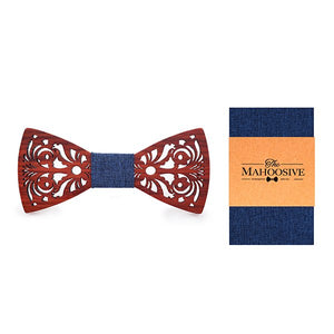 Wood Bow Tie, Handkerchief and Pocket Square Set