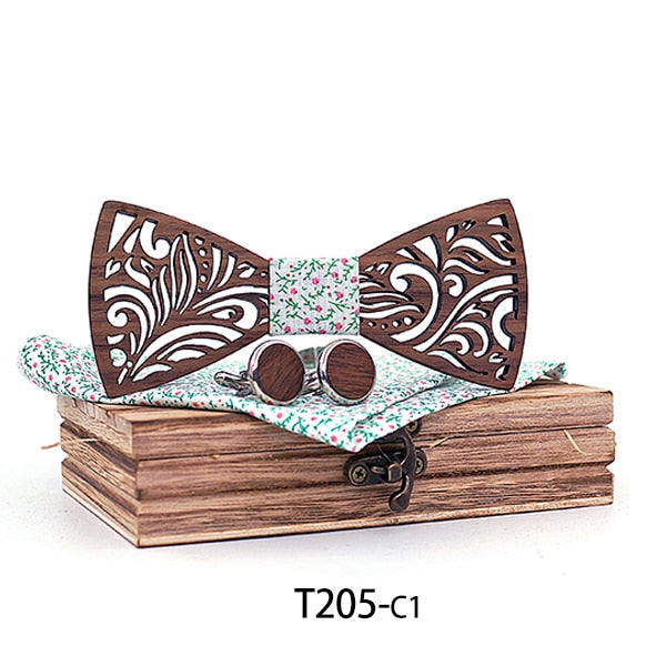 Handmade Wooden Bow Tie set with matching cuff links and Handkerchief resting on the wooden box