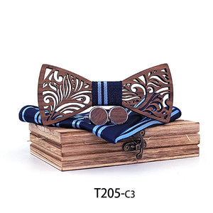 Handmade Wooden Bow Tie set  in blue and black with matching cuff links and Handkerchief resting on the wooden box