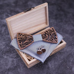 Handmade Wooden BowTie set with matching cuff links and Handkerchief resting on the wooden box
