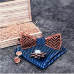 Hombre - Wooden Bow Tie, Handkerchief, Cufflinks  and Floral Lapel Set