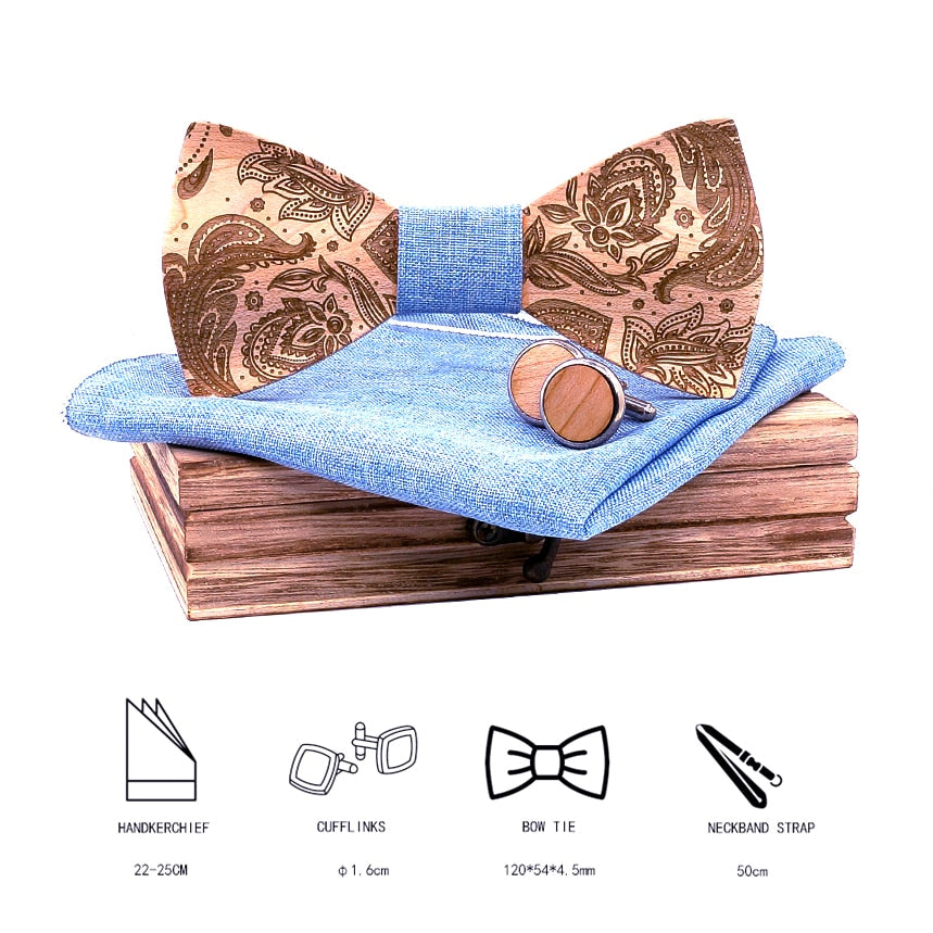 Paisley Wooden Bow Tie Set in blue with wooden box and matching cufflinks and pocket square. With Size chart on the image