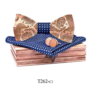 Paisley Wooden Bow Tie Set in dark blue with wooden box and matching cufflinks and pocket square