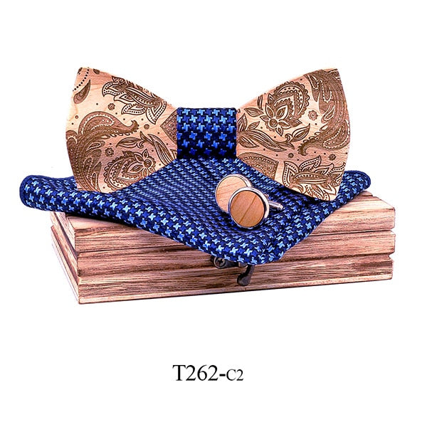 Paisley Wooden Bow Tie Set in checkered blue with wooden box and matching cufflinks and pocket square