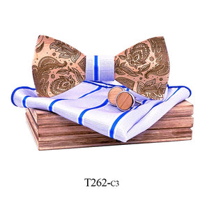 Paisley Wooden Bow Tie Set in purple with blue stripes with wooden box and matching cufflinks and pocket square