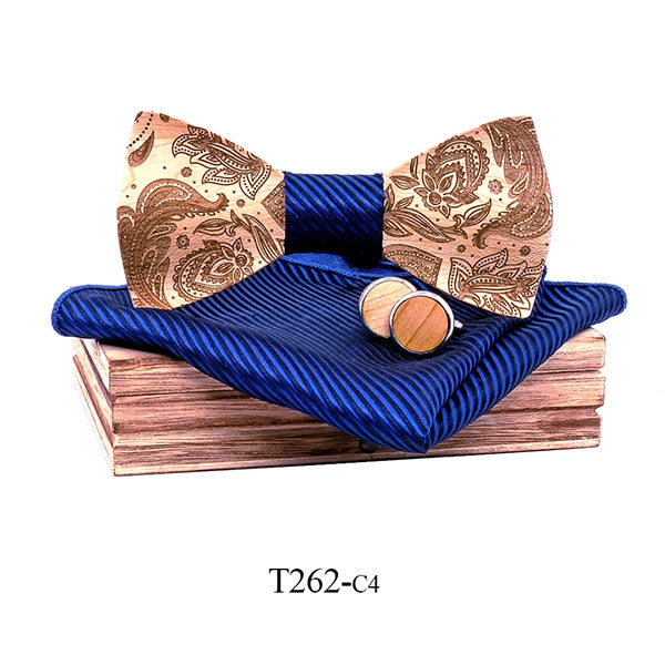 Paisley Wooden Bow Tie Set in navy blue with wooden box and matching cufflinks and pocket square