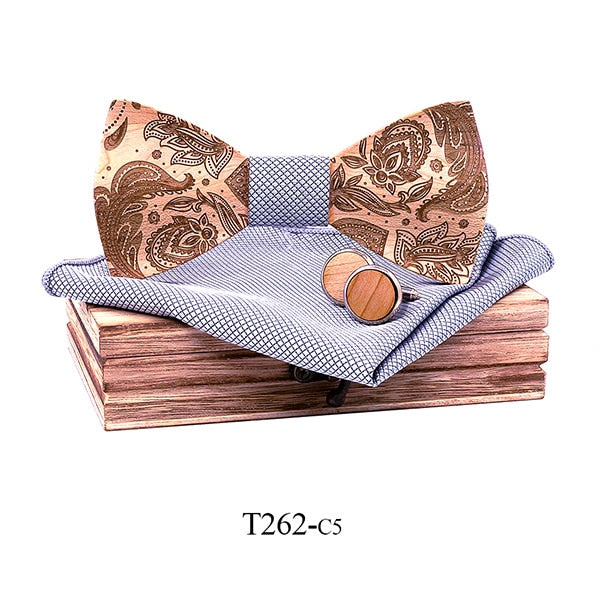 Paisley Wooden Bow Tie Set in grey with wooden box and matching cufflinks and pocket square