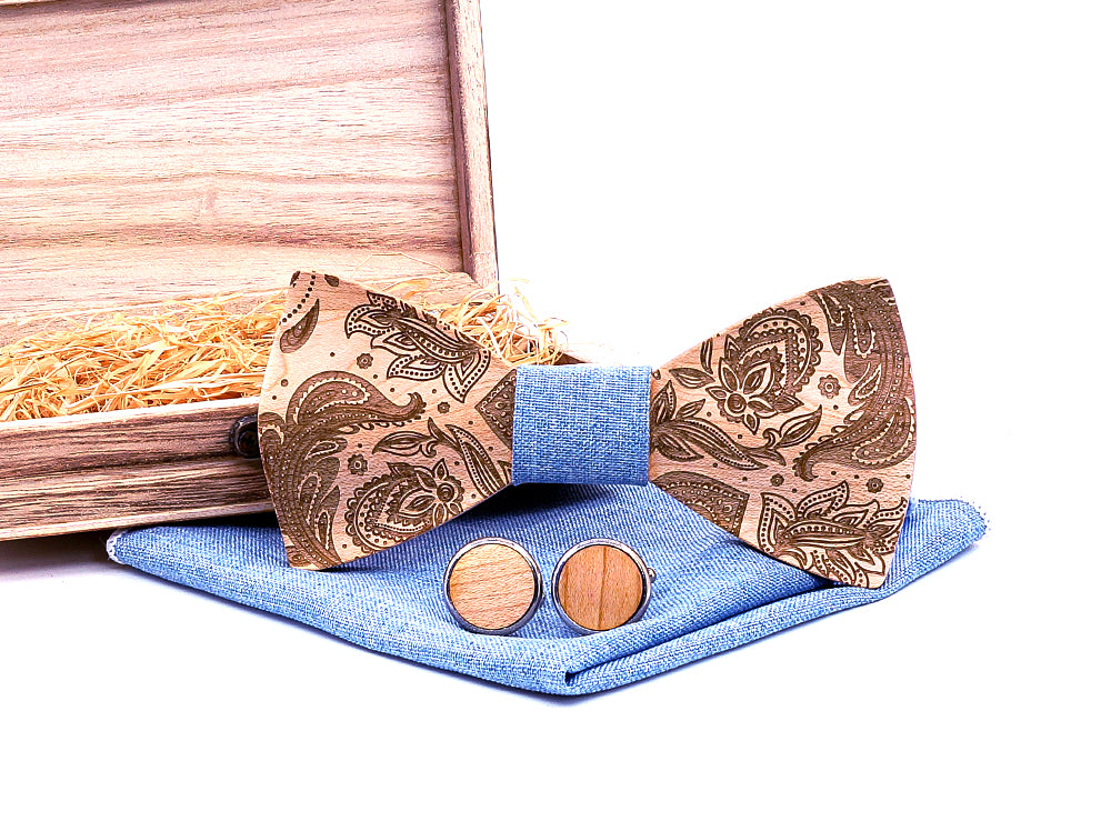 Paisley Wooden Bow Tie Set in blue with wooden box and matching cufflinks and pocket square