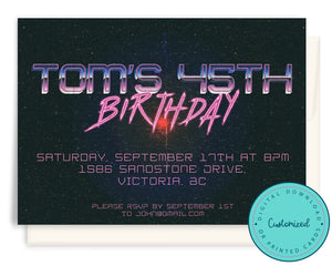 80s Retro Birthday Party Invitation