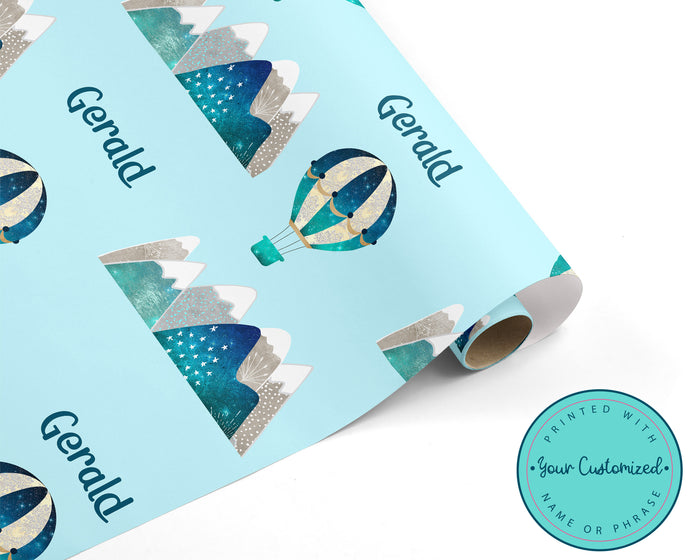 Personalized Hot Air Balloon and Mountain Wrapping Paper
