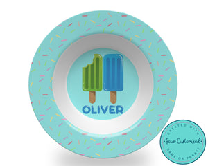 Personalized Blue Popsicle Bowl