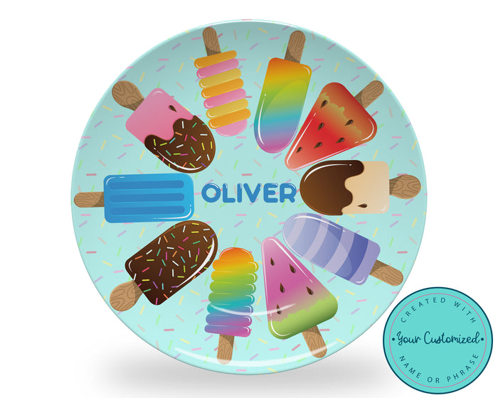 Personalized Blue Popsicle Plate