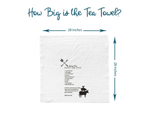 Information graphic showing the size of the BBQ towel. It is 28 inches by 28 inches.