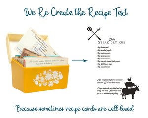 "Information graphic showing a vintage yellow recipe card box with several hand-written recipes. Text reads ""We re-create the recipe text because sometimes recipe cards are well-loved"". A typed out Steak Dry Rub recipe is show with graphics of BBQ tools and silhouettes of a cow, pig and chicken."