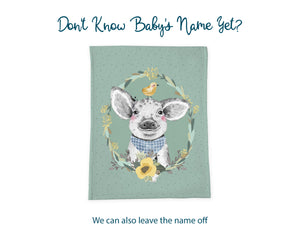 Don't know baby's name yet? We can also leave the name off. Green pig blanket shown without personalization.
