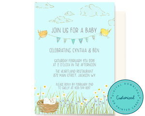 Spring Birds Baby Shower Invitation