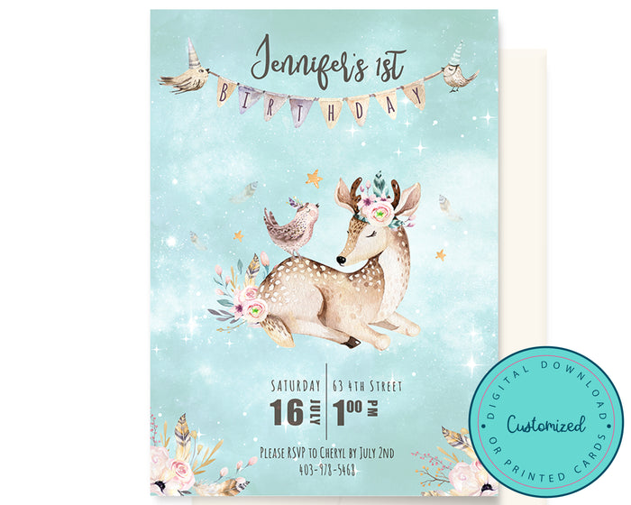 Woodland Boho Baby Deer Invitation
