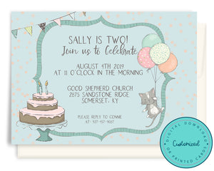 Cat Birthday Balloons Invitation