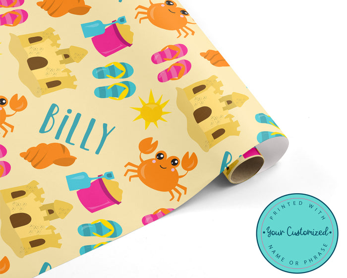 Personalized Beach Party Wrapping Paper