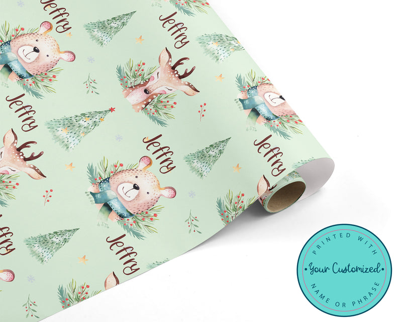 Christmas Deer and Bear Personalized WRAPPING PAPER