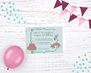Dachshund Wiener Dog Birthday Balloons Invitation