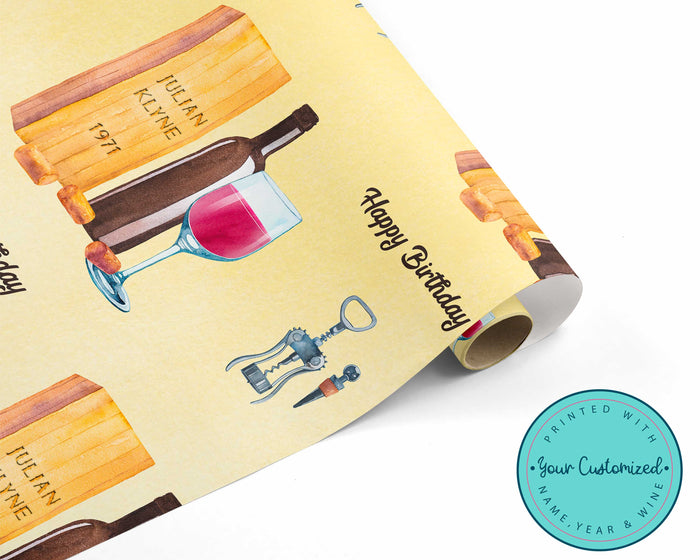 Personalized Wine Birthday Wrapping Paper