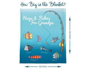 "Information picture showing size of ""Hugs and Fishes Blanket"". The blanket measures 60 inches long and 50 inches wide."
